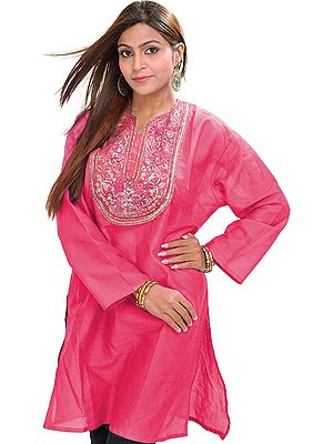 Casual Kurti with Sequins Embroidery on Neck