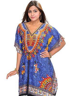 Printed Short Kaftan with Dori at Waist