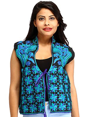 Phulkari Embroidered Short Waistcoat from Punjab