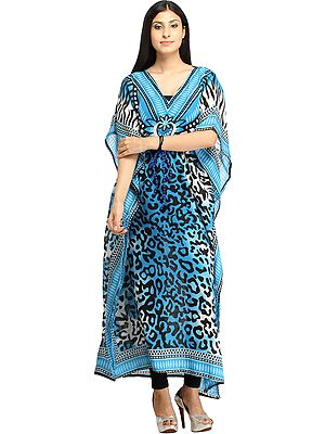 Long Kaftan with Printed Tiger-stripes and Dori at Waist
