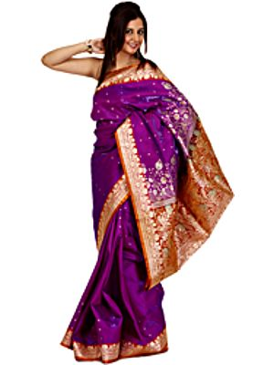 Passion-Flower Purple Sari from Banaras with All-Over Woven Bootis and Floral Brocaded Aanchal