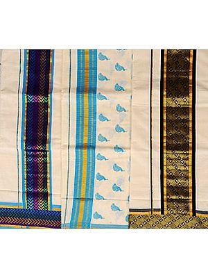 Lot of Three Handwoven Kasavu Saris from Kerala with Golden Thread Weave