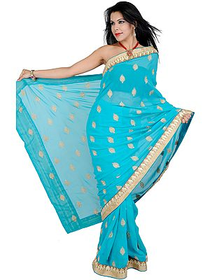 Sari with Metallic Thread Embroidered Bootis and Patch Border