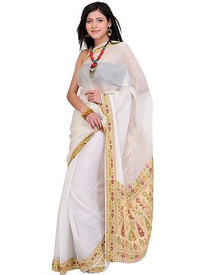 Plain Banarasi Sari with Hand Woven Meenakari Border and Aanchal