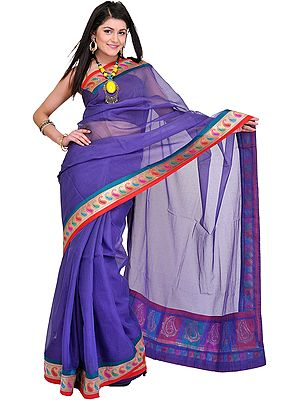 Sari with Fine Woven Checks and Brocaded Paisley Patch Border
