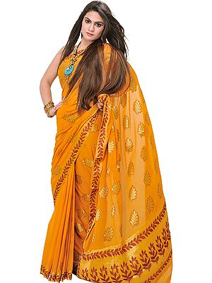 Chiffon Sari from Mysore with Hand-woven Leaves in Golden Thread