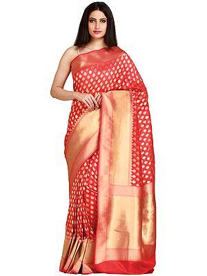 Traditional Banarasi Sari with Woven Bootis and Zari Weave on Pallu