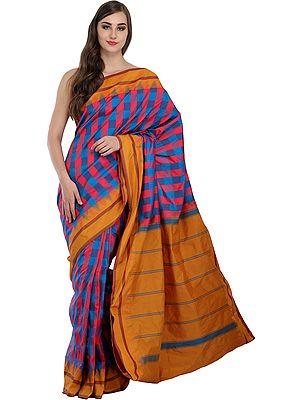 Sari from Bangalore with Woven Checks and Striped Pallu