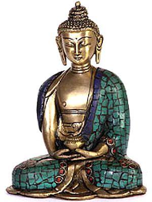 Buddha In Meditation with Pindapatra (Robe Inlaid with Gemstones)