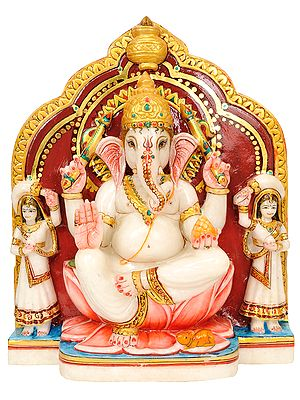 Lord Ganesha with Riddhi & Siddhi