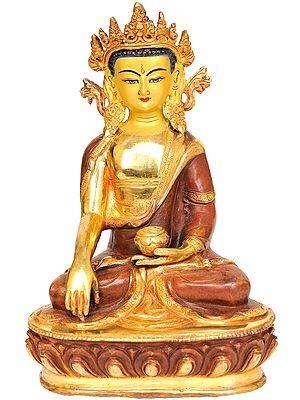 (Tibetan Buddhist Deity) Crowned Buddha in Earth -Touching Gesture