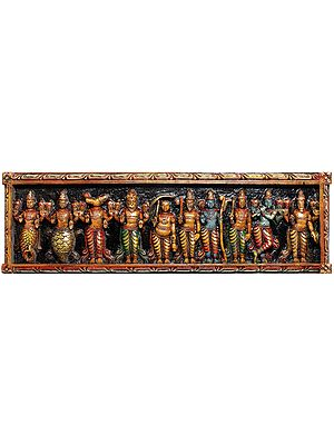 Large Size Dashavatara Panel -The Ten Incarnations of Lord Vishnu (From the Left - Matshya, Kurma, Varaha, Narasimha, Vaman, Parashurama, Rama, Balarama, Krishna and Kalki)