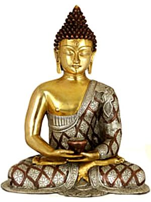 Lord Buddha in Dhyana Mudra (Robes Decorated with Lotus Flowers)