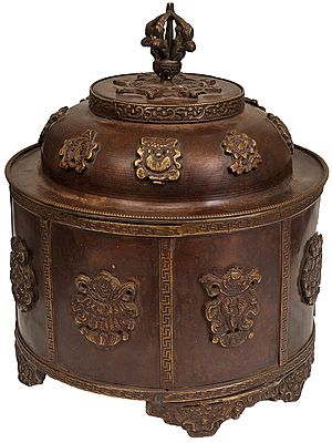 Buddhist Ritual Box and Lid with Eight Auspicious Symbols