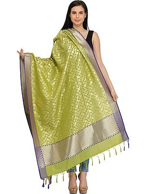 Banarasi Brocaded Dupatta with Floral Weave in Zari Thread