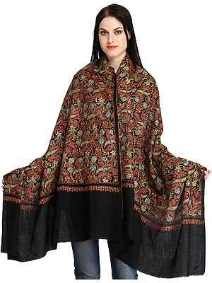 Pure Tusha Shawl from Kashmir with All-Over Needle Embroidery by Hand