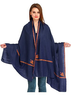 Plain Kashmiri Kingri Shawl with Sozni Hand-Embroidery on Border