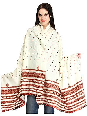 Shawl from Kutch with Woven Border and Embroidered Mirrors