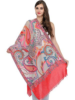 Kani Jamwar Stole with Woven Paisleys in Multi-colored Thread