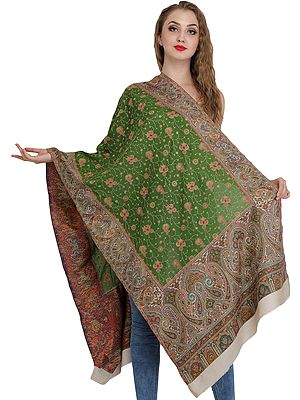 Kani Jamawar Stole with Needle Hand-Embroidery and Woven Paisleys