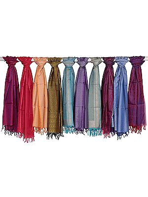 Lot of Ten Banarasi Scarves with Tanchoi Weave