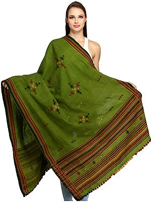 Shawl from Kutch with Embroidered Bootis and Mirrors