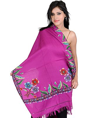 Stole from Kashmir with Hand Embroidered Flowers and Leaves
