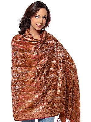 Stylized Paisley Banarasi Shawl with All-Over Weave