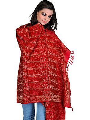 Stylized Paisley Banarasi Shawl with All-Over Weave