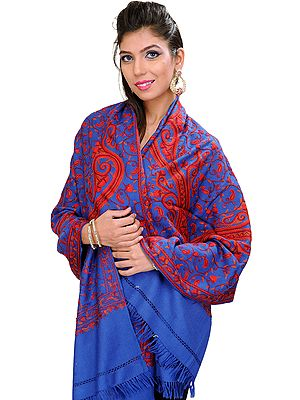 Stole from Kashmir with Hand Embroidered Giant Paisleys All-Over