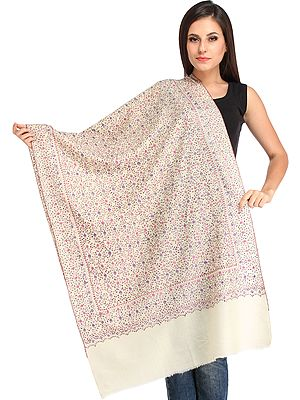 Tusha Stole from Kashmir with Jafreen Jaal Embroidery by Hand