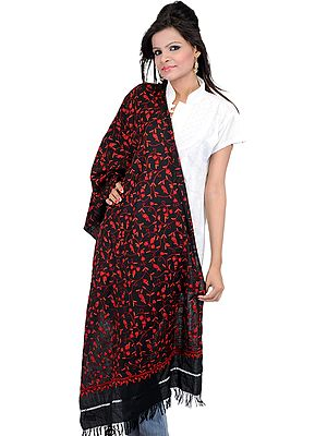 Stole from Kashmir with Ari Embroidered Paisley Jaal by Hand