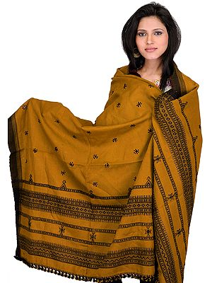 Shawl from Kutch with Embroidered Flowers and Mirrors