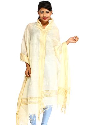 Plain Dupatta from Jharkhand with Woven Stripes on Border