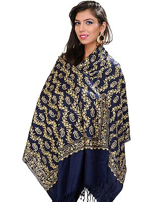 Stole from Amritsar with Embroidered Paisleys in Metallic Thread
