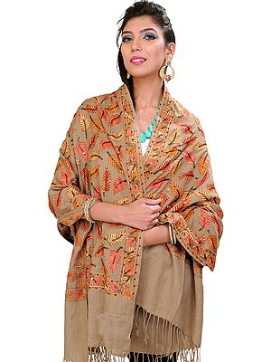 Stole from Amritsar with Ari Embroidered Leaves and Sequins