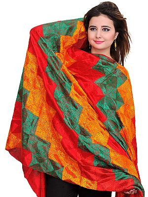 Phulkari Hand-Embroidered Dupatta from Punjab