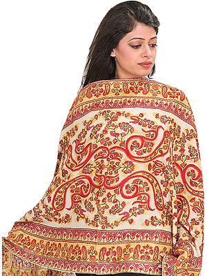 Stole from Kashmir with Ari-Embroidered Paisleys by Hand