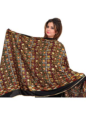 Phulkari Embroidered Dupatta from Punjab with Sequins