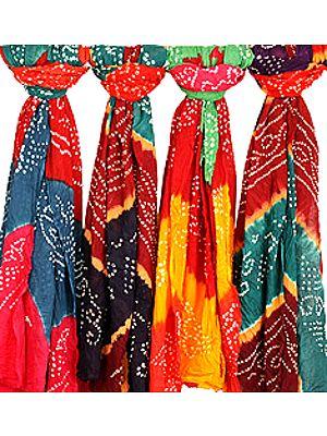 Lot of Five Bandhani Tie-Dye Dupattas from Jodhpur