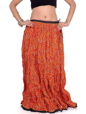 Red Ghagra Skirt from Rajasthan with Chunri Print