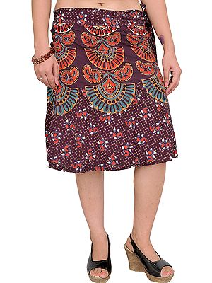 Wrap-Around Sanganeri Short-Skirt with Printed Motifs