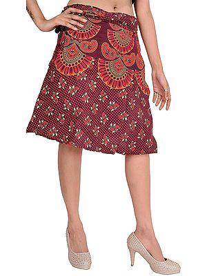 Wrap-Around Sanganeri Short-Skirt with Printed Motifs