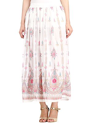 Elastic Long Skirt with Floral Print