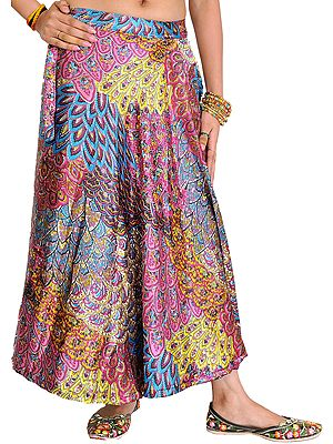 Satin Wrap-Around Midi Skirt with Printed Flowers