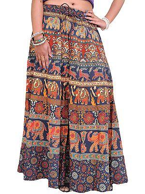 Long Sanganeri Printed Skirt with Elephants and Deers