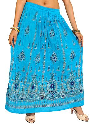 Long Skirt With Printed Flowers and Embroidered Sequins