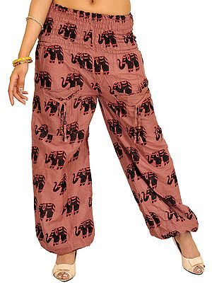 Yoga Trousers with Printed Elephants and Front Pockets