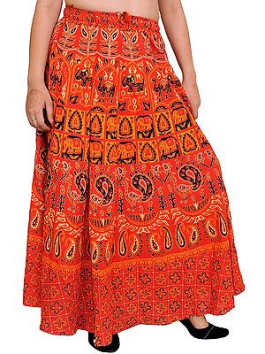 Sanganeri Long Skirt with Printed Elephants and Peacocks