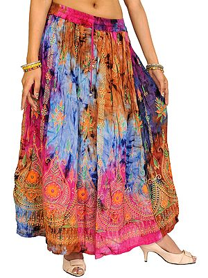 Multi-Color Long Skirt With Printed Paisleys and Sequins